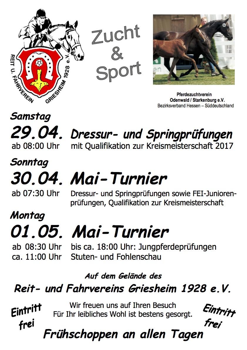Einladung zum Mai Turnier - 29.04.-01.05.